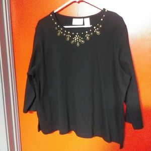 Alfred Dunner Black 3/4 Sleeve Blouse Shirt Beads